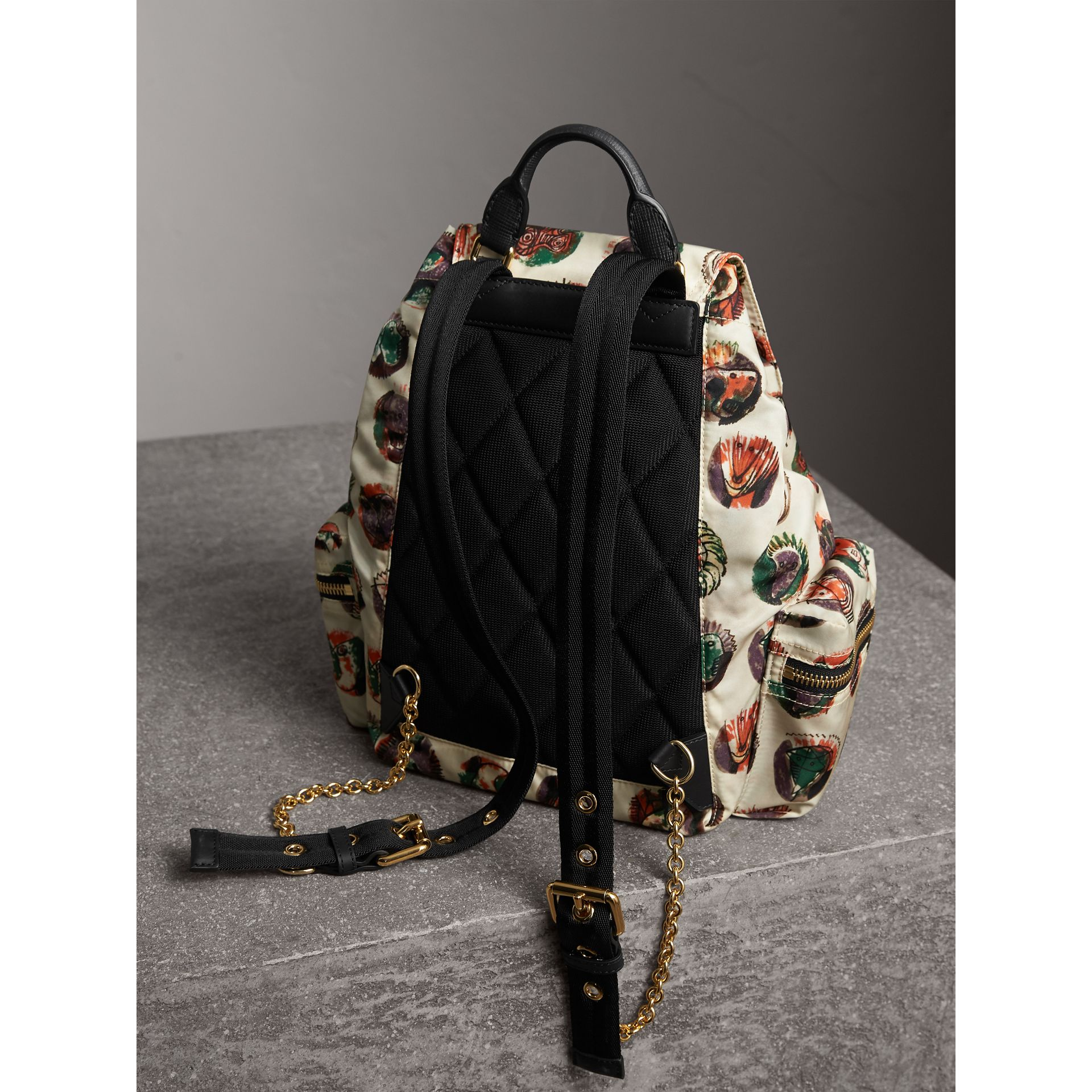 The Medium Rucksack in Technical Nylon with Pallas Heads Print - Women | Burberry Australia - gallery image 4