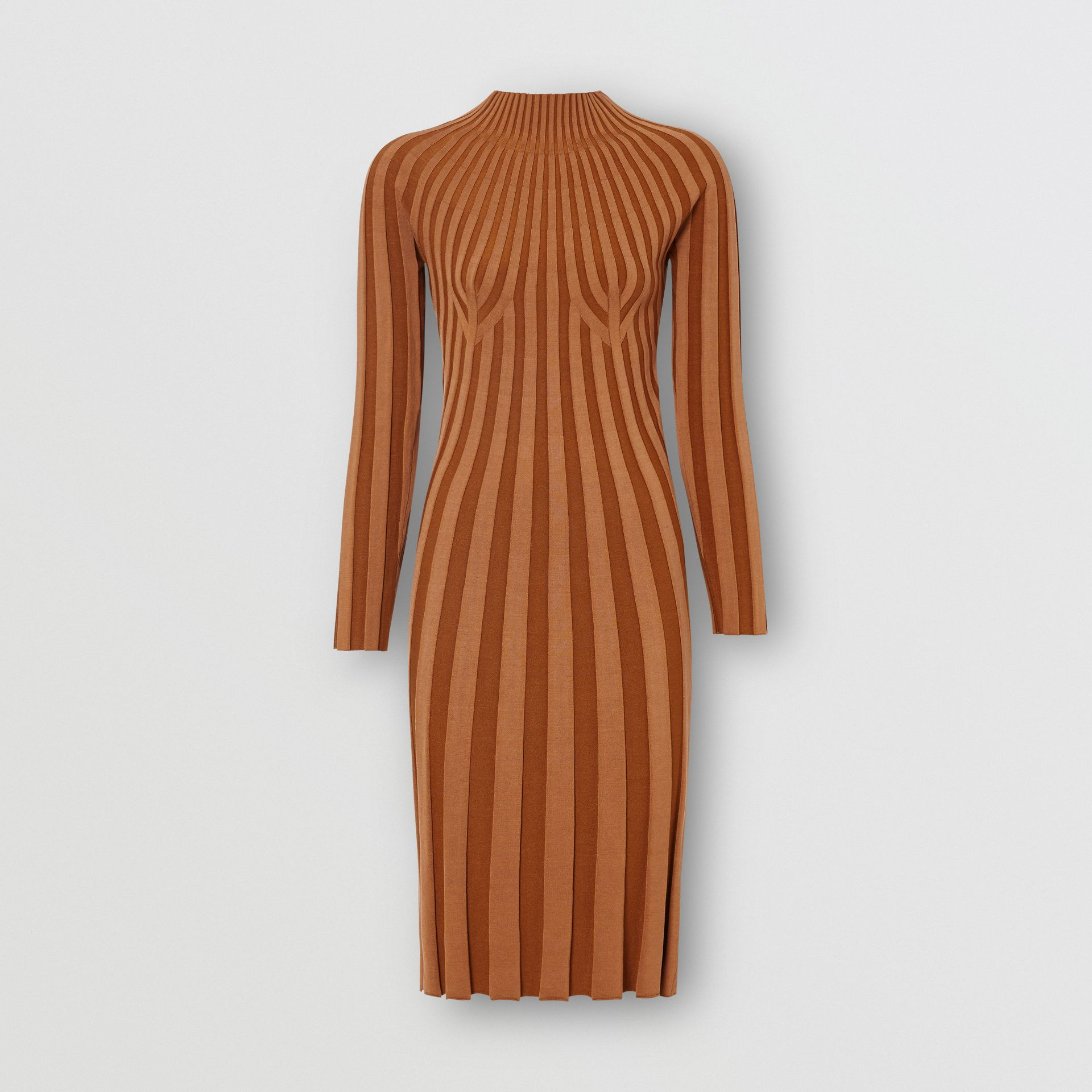 Long-sleeve Rib Knit Stretch Silk Blend Dress in Truffle - Women | Burberry - gallery image 3