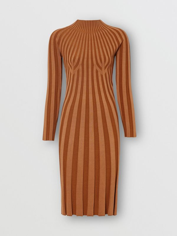 Long-sleeve Rib Knit Stretch Silk Blend Dress in Truffle - Women | Burberry - cell image 3