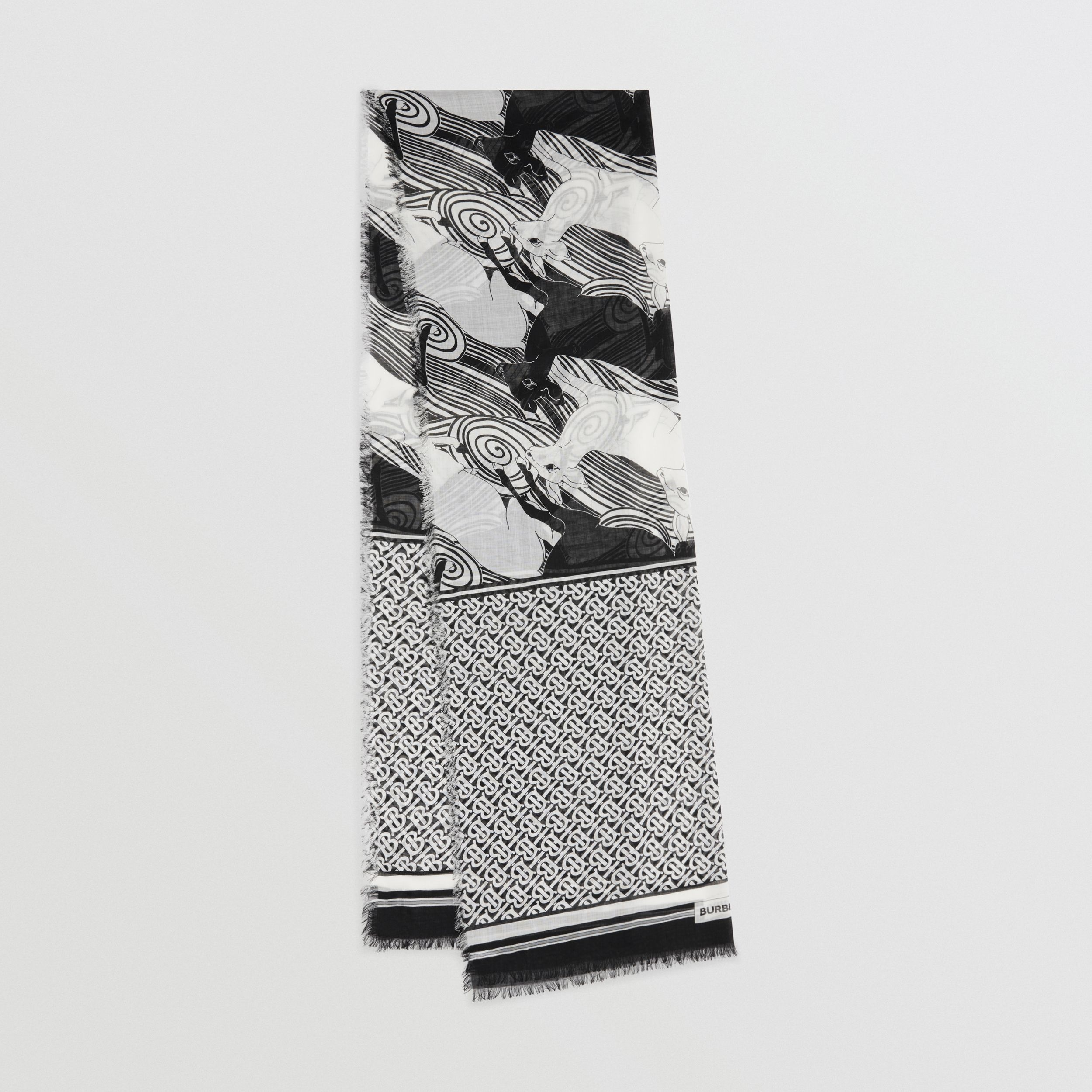 Deer and Monogram Print Wool Silk Scarf in Monochrome | Burberry - 1