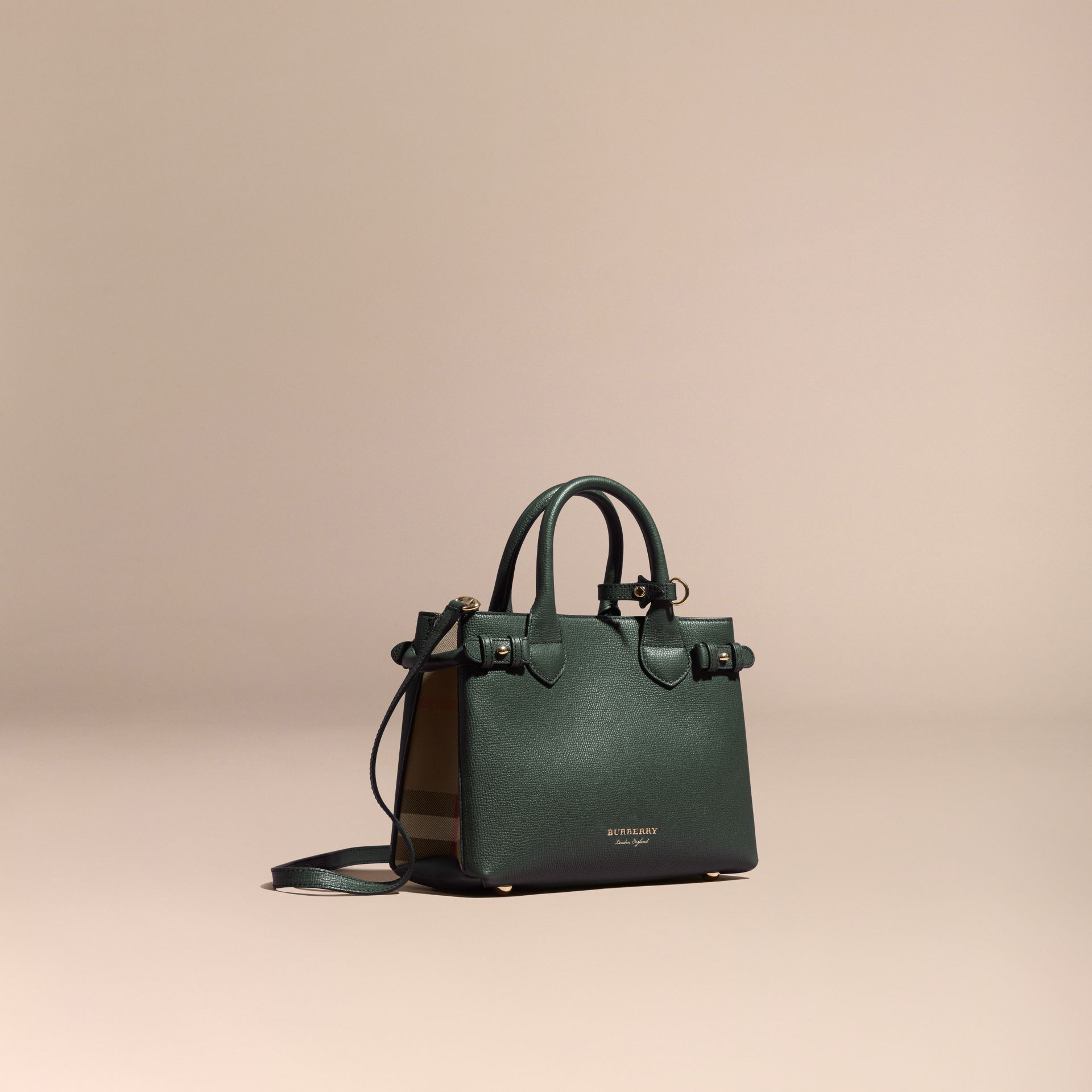 The Small Banner in Leather and House Check Dark Bottle Green - gallery image 1