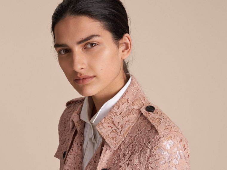 Macramé Lace Trench Coat Pale Pink - cell image 4
