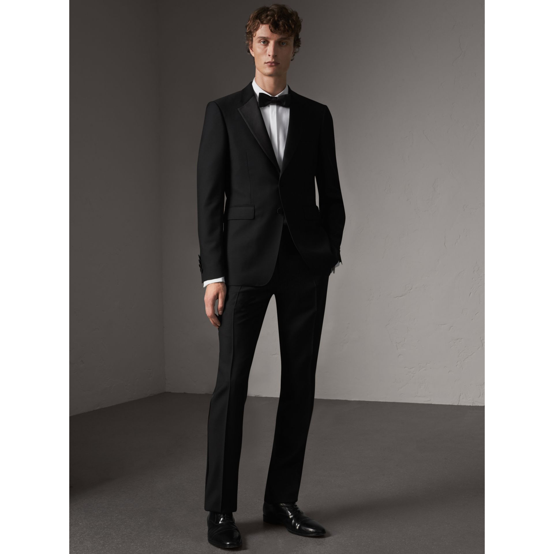 Modern Fit Wool Mohair Half-canvas Tuxedo in Black - Men | Burberry Australia - gallery image 1