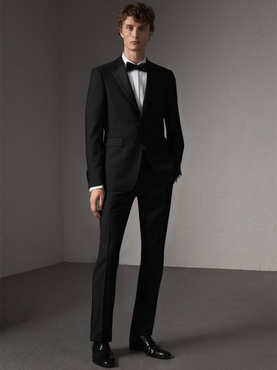 Modern Fit Wool Mohair Half-canvas Tuxedo in Black
