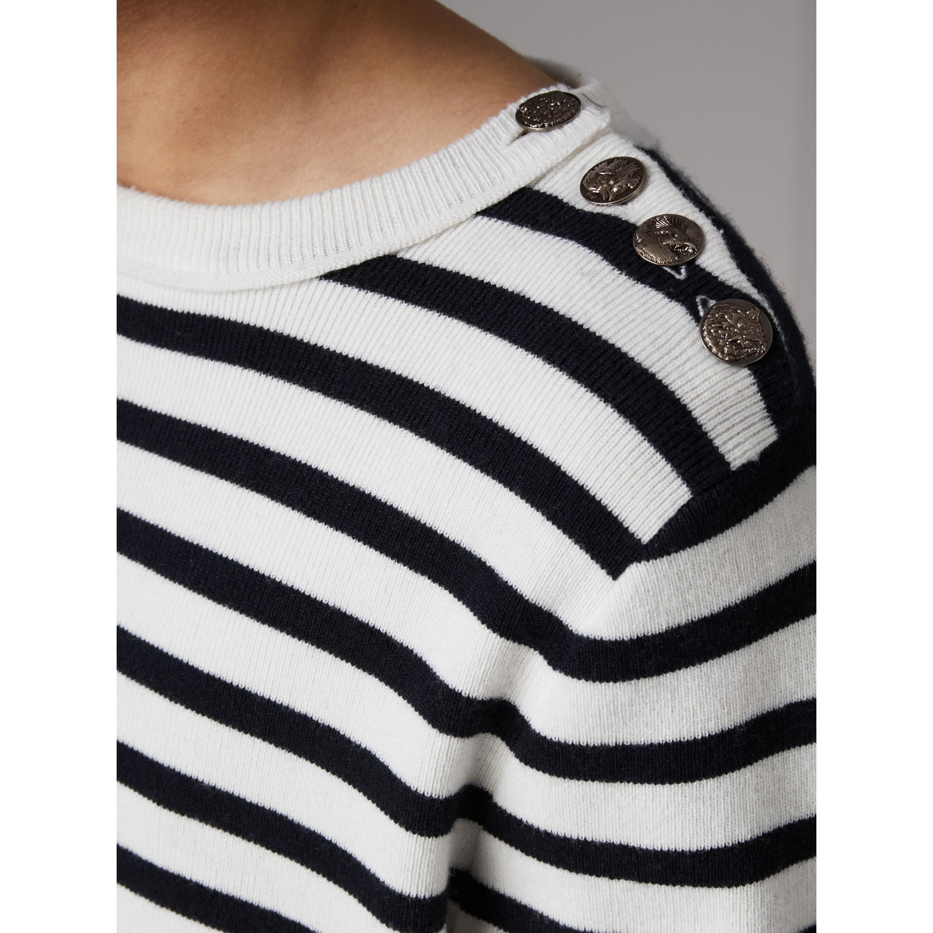 Bird Button Breton Stripe Wool Cashmere Sweater in Natural White - Men | Burberry - gallery image 1