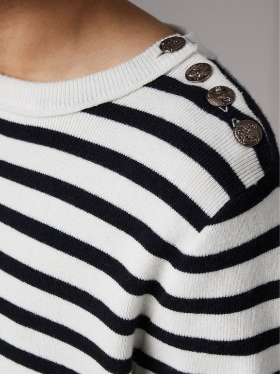 Bird Button Breton Stripe Wool Cashmere Sweater in Natural White - Men | Burberry - cell image 1