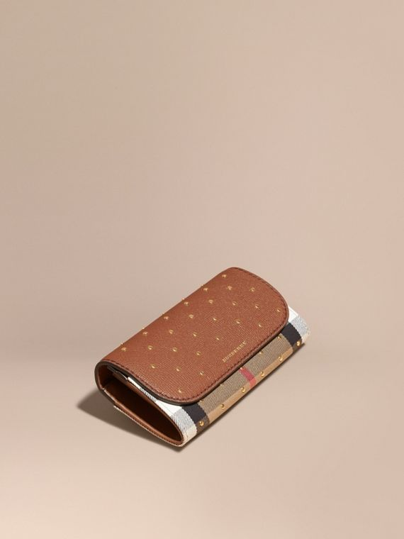 Studded Leather and House Check Continental Wallet Tan