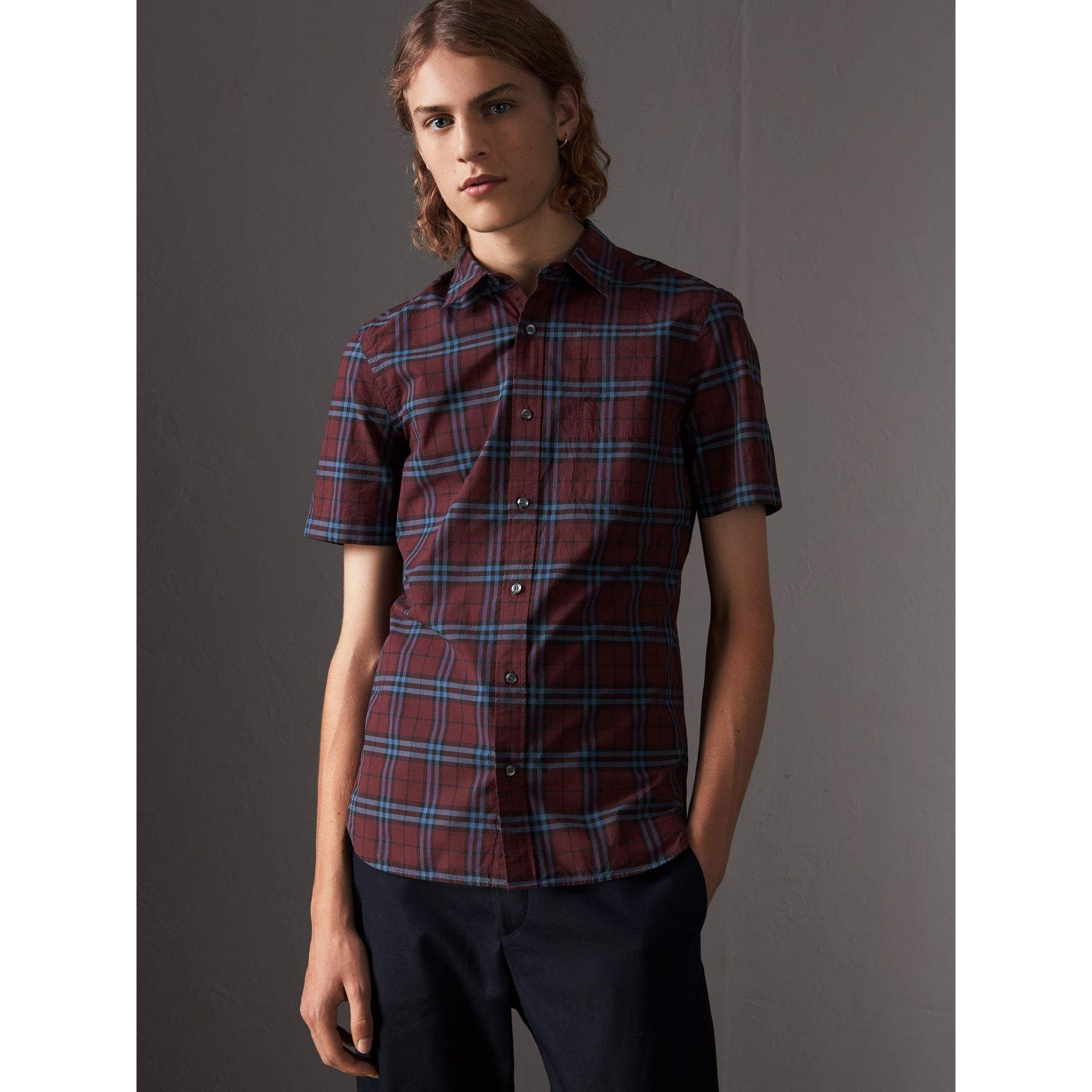 Short-sleeve Check Cotton Shirt in Crimson Red - Men | Burberry - gallery image 0