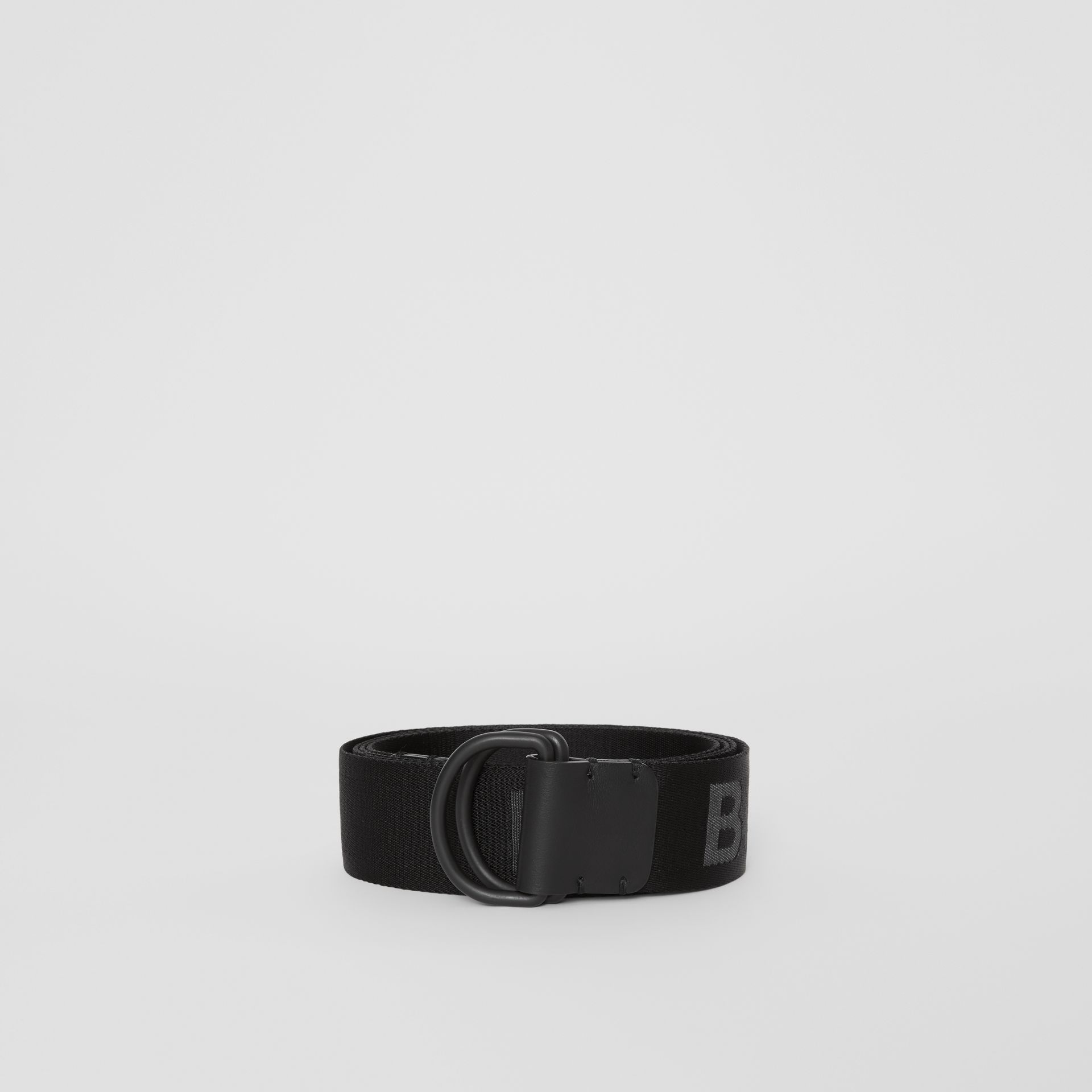 Logo Detail Double D-ring Belt in Black - Men | Burberry - gallery image 2