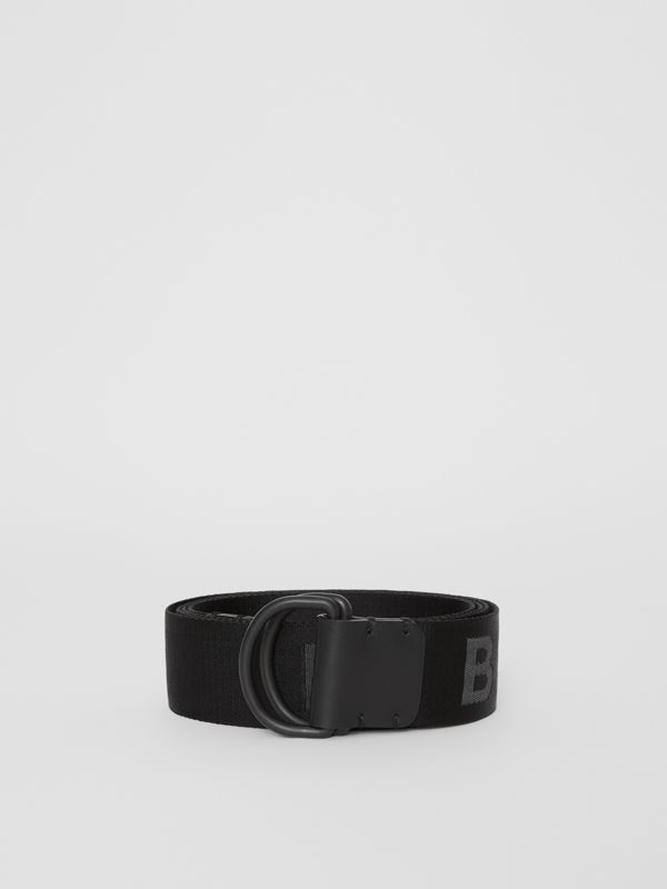 Logo Detail Double D-ring Belt in Black - Men | Burberry - cell image 3