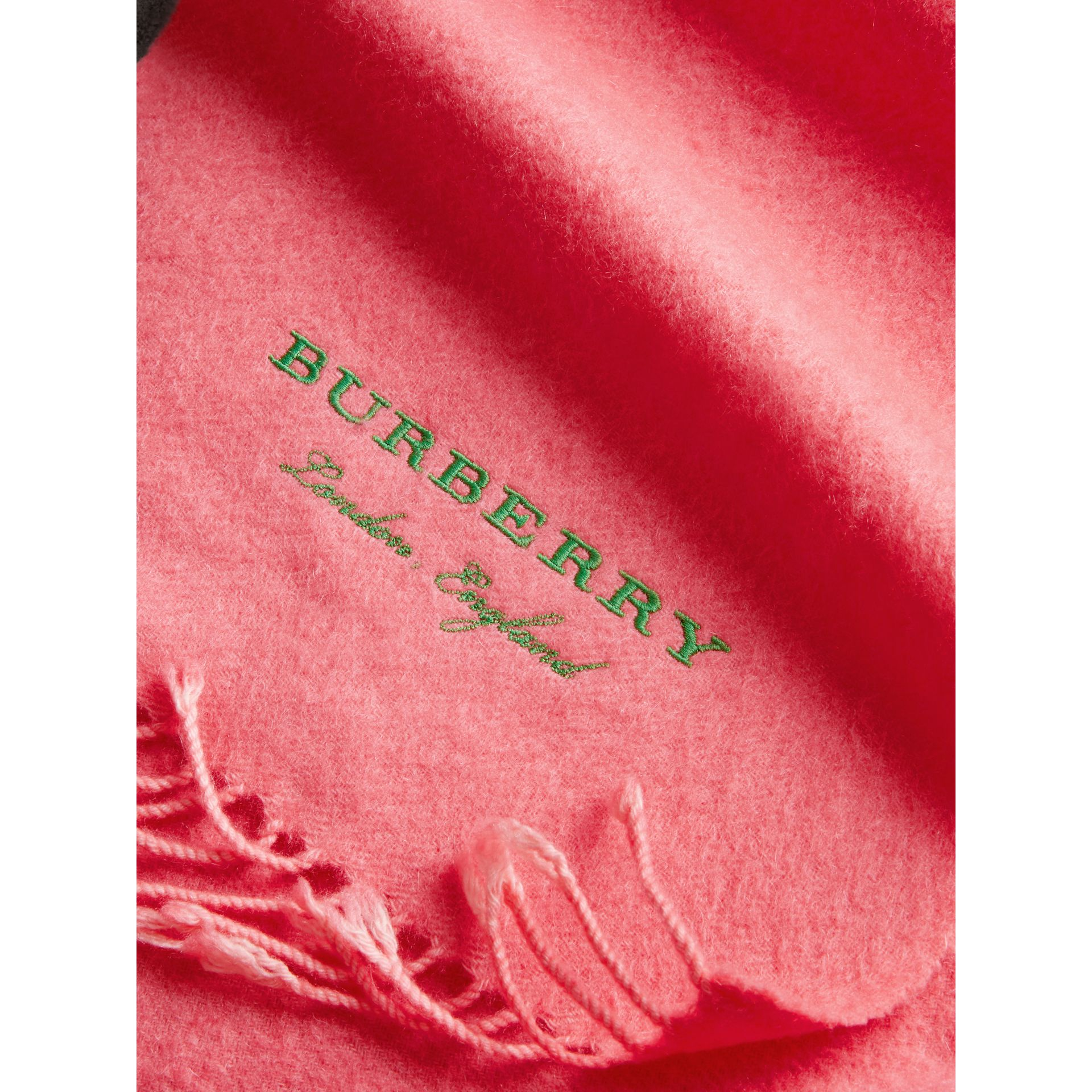 Embroidered Cashmere Fleece Scarf in Coral | Burberry - gallery image 1