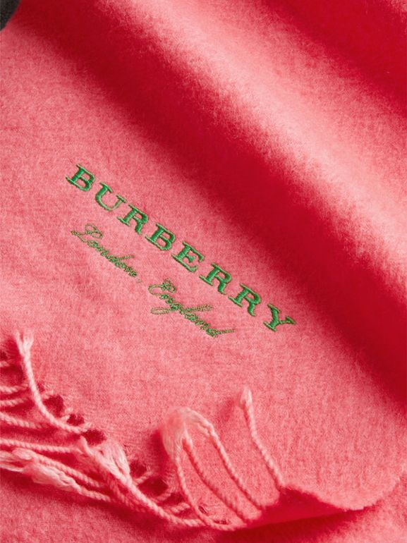 Embroidered Cashmere Fleece Scarf in Coral | Burberry - cell image 1
