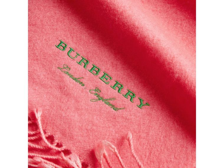Embroidered Cashmere Fleece Scarf in Coral | Burberry Canada - cell image 1