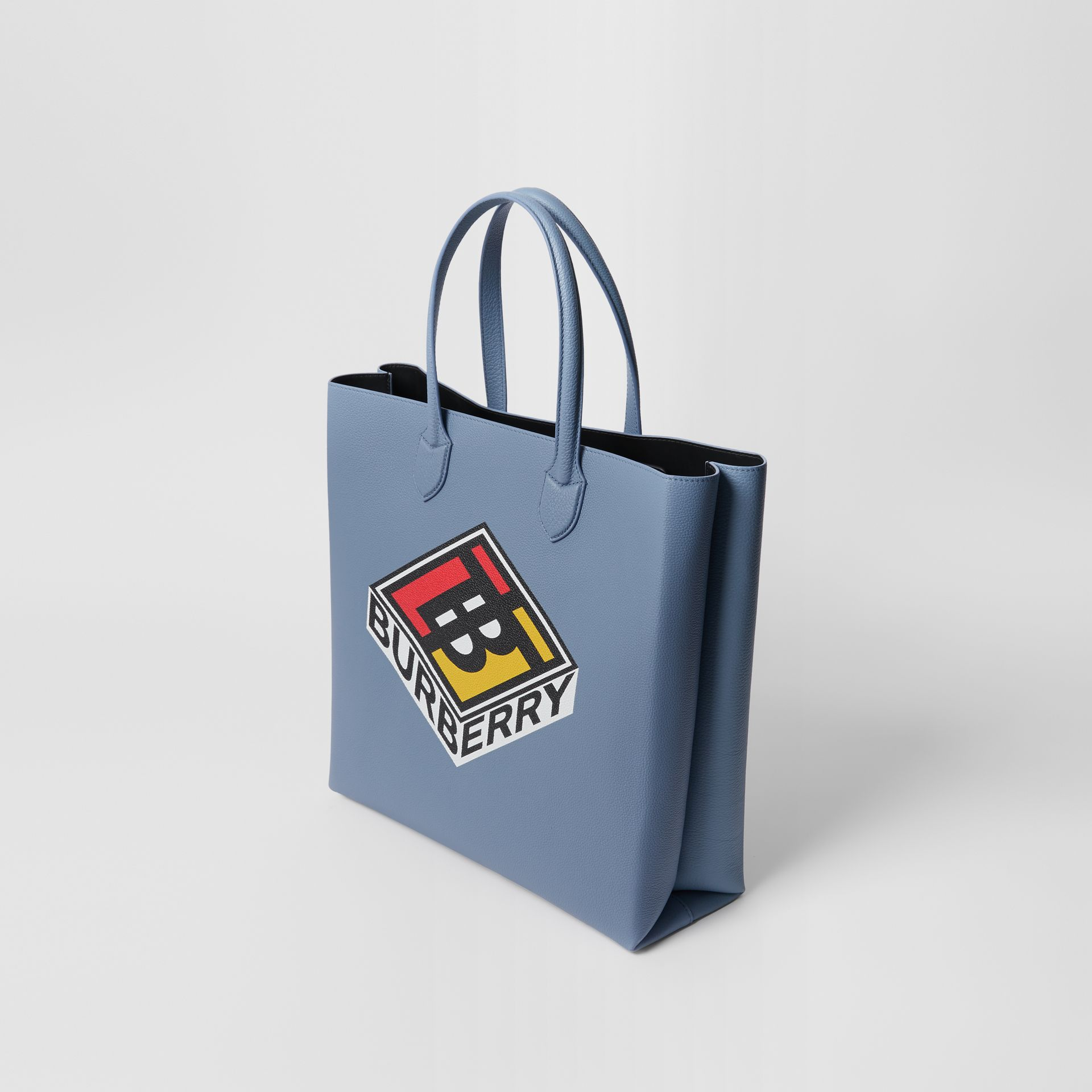 Large Logo Graphic Grainy Leather Tote in Baby Blue - Men | Burberry - gallery image 4