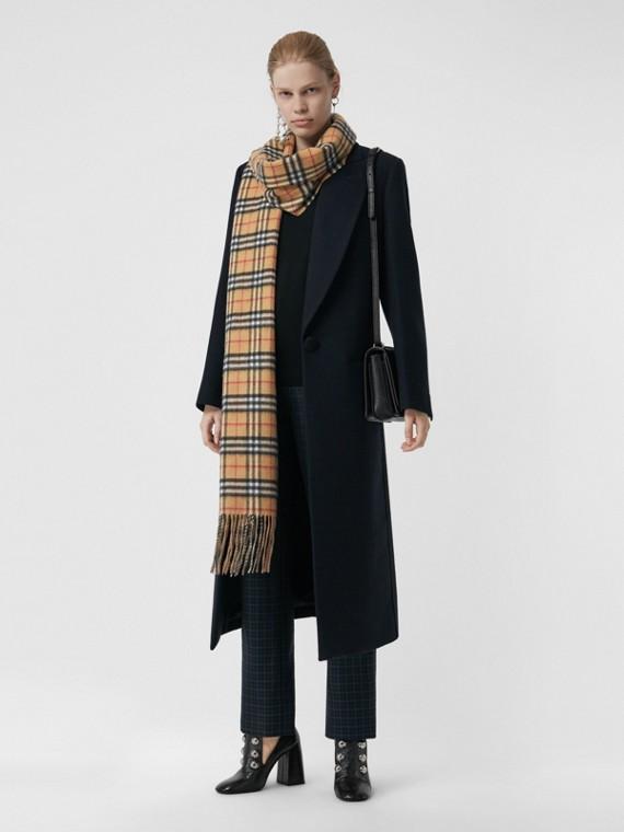 Sciarpa lunga reversibile in cashmere double face con motivo Vintage check (Arenaria)