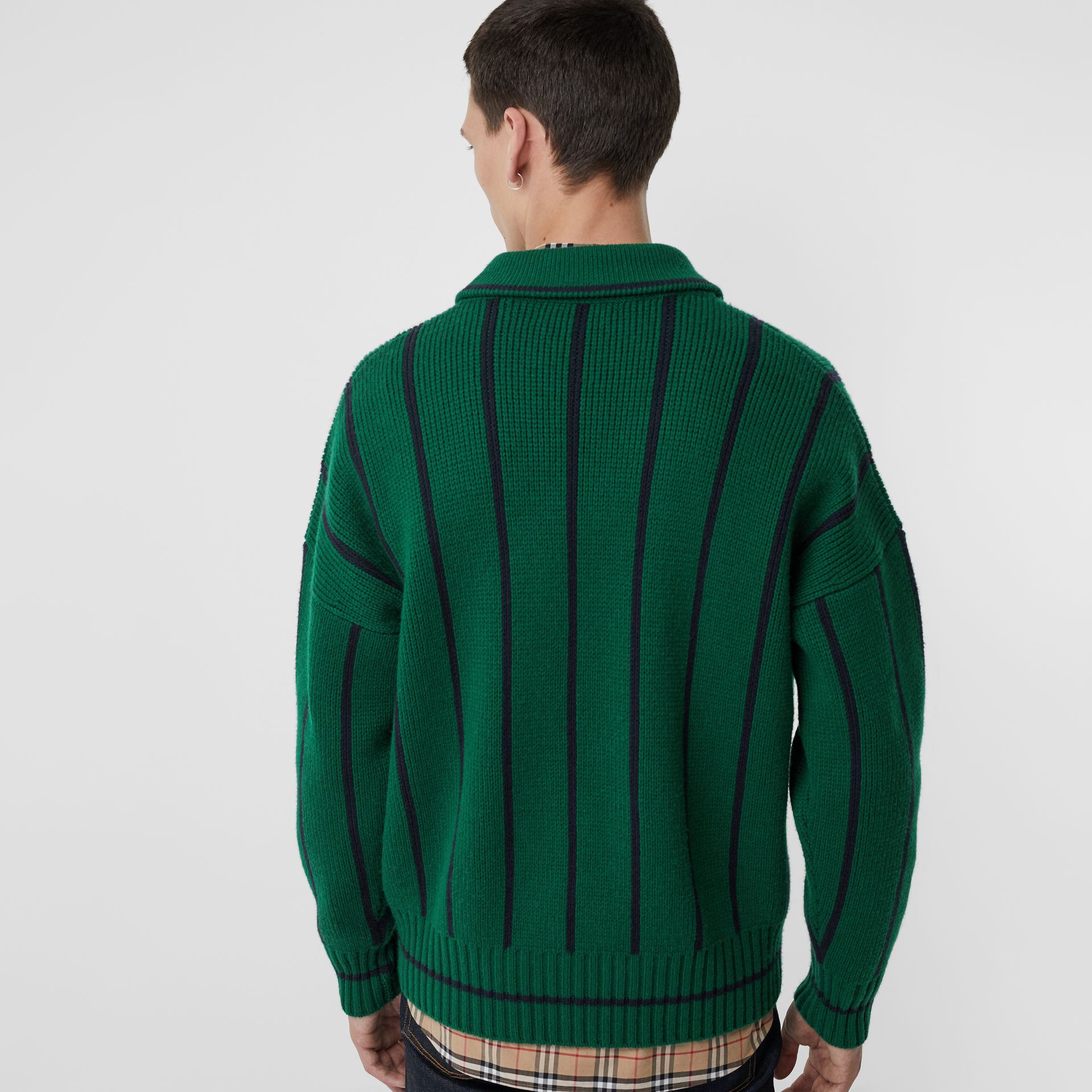 Striped Wool Cashmere Sweater in Bright Forest Green - Men | Burberry Singapore - gallery image 2