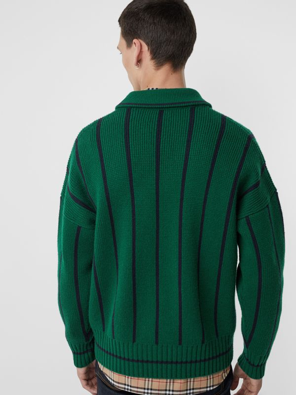 Striped Wool Cashmere Sweater in Bright Forest Green - Men | Burberry Australia - cell image 2