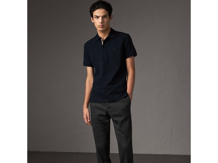 Check Placket Cotton Piqué Polo Shirt in Dark Navy - Men | Burberry United States - cell image 4