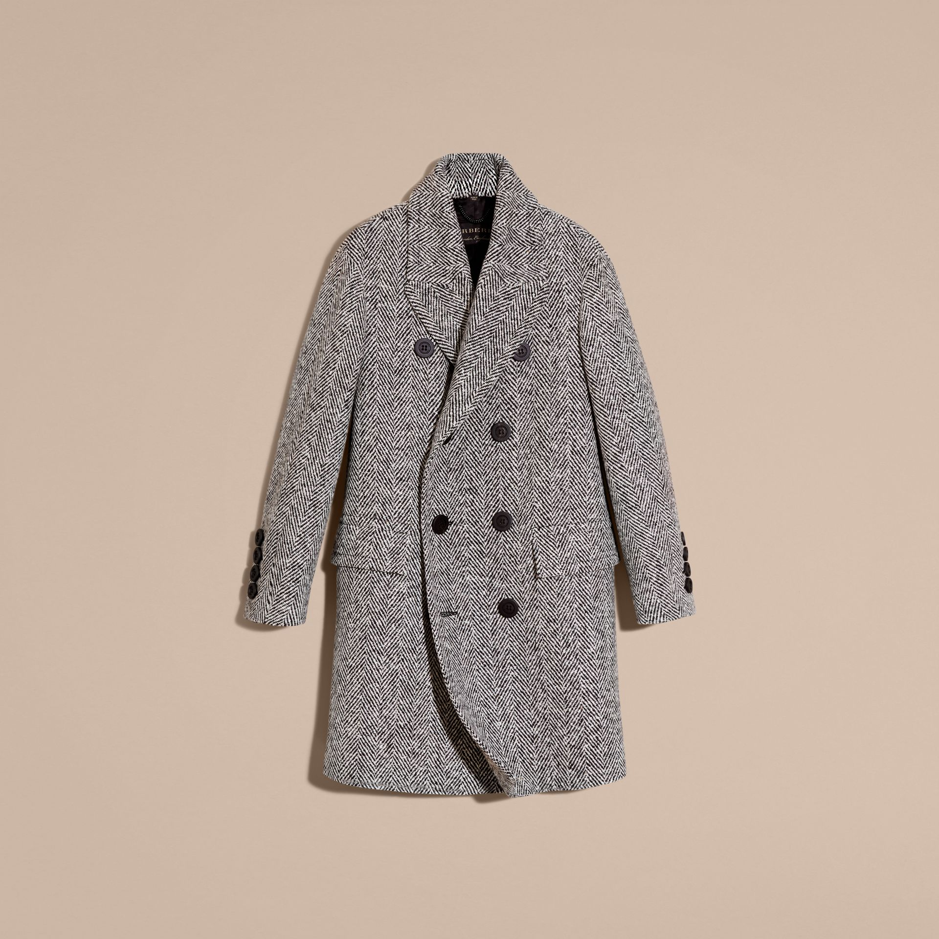 Black/white Herringbone Wool Topcoat - gallery image 4