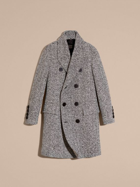 Black/white Herringbone Wool Topcoat - cell image 3