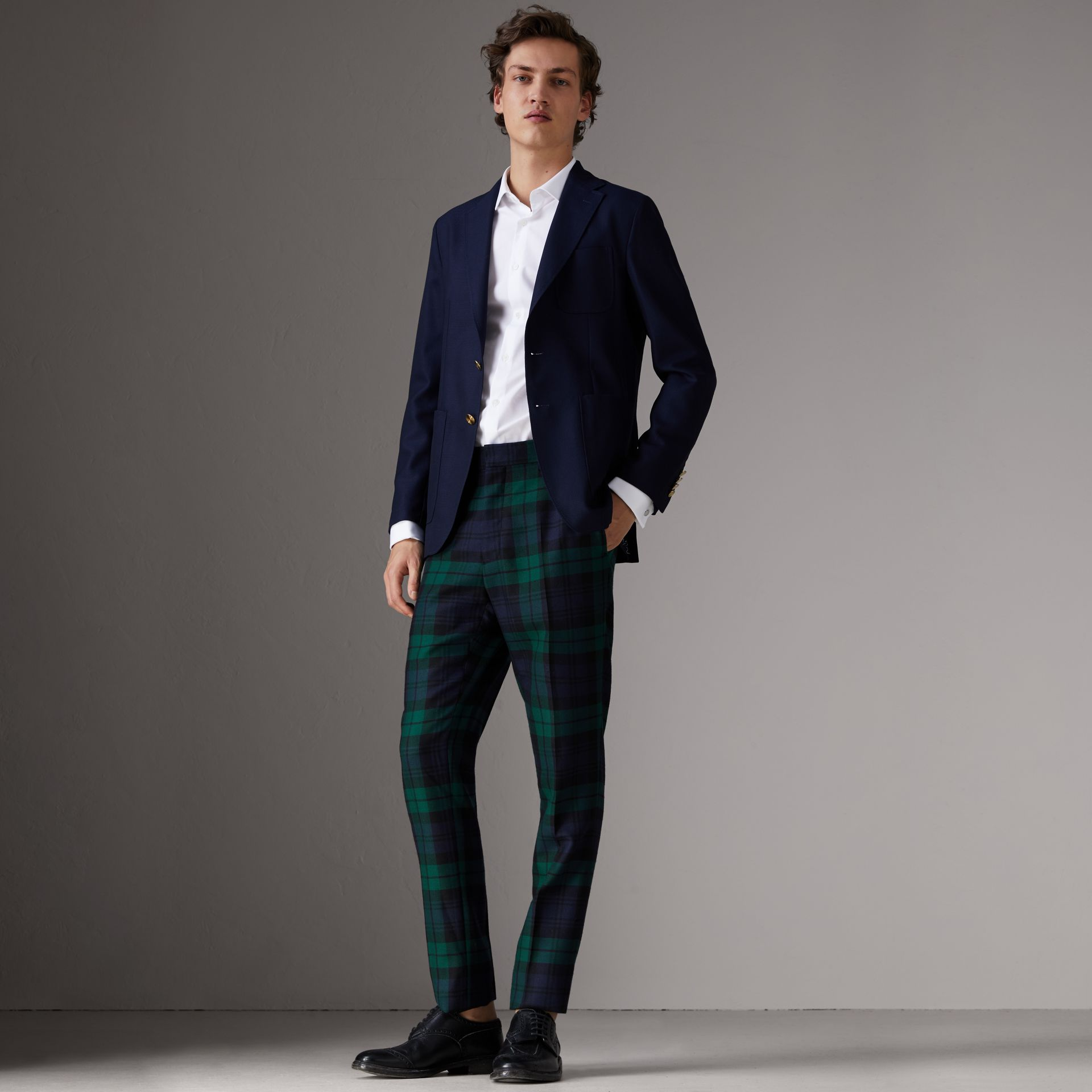Slim Fit Wool Hopsack Tailored Jacket in Navy - Men | Burberry - gallery image 7