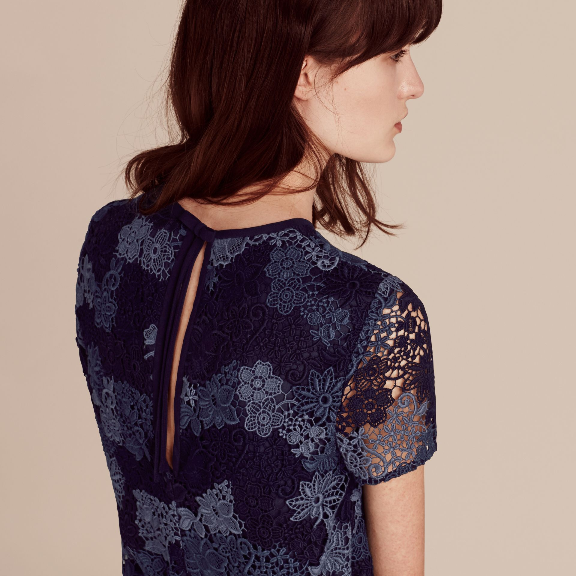 Ink blue Italian-woven Lace T-shirt Dress Ink Blue - gallery image 5