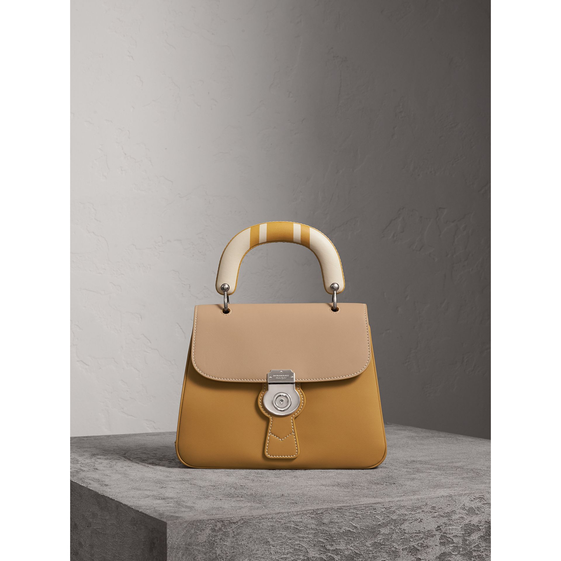 The Medium DK88 Top Handle Bag with Geometric Print in Ochre Yellow/honey - Women | Burberry - gallery image 1