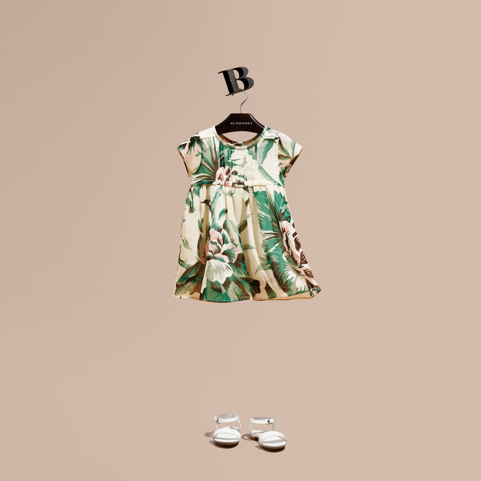 Emerald green Peony Rose Print Silk Dress - gallery image 1