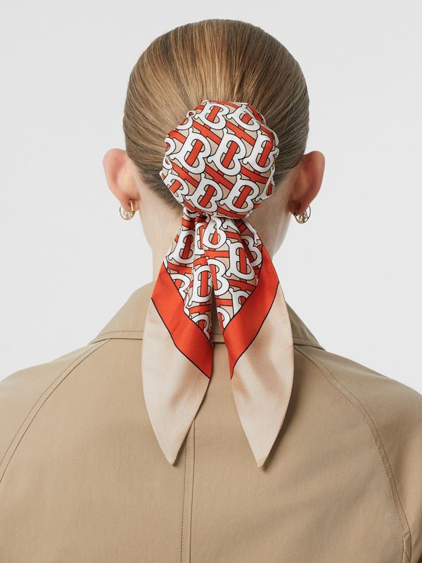 Monogram Print Silk Hair Scarf in Vermilion - Women | Burberry Australia - cell image 2