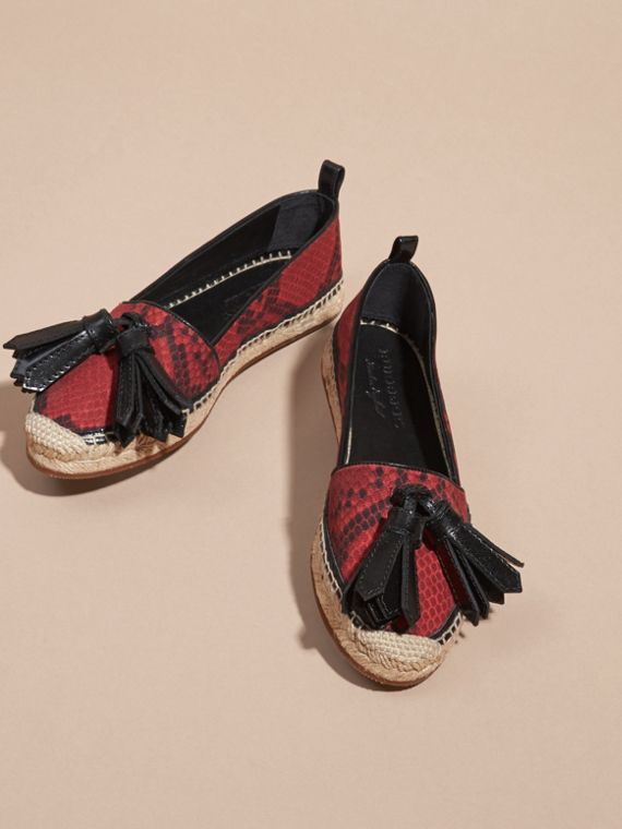 Windsor red Tasselled Python Print Cotton and Leather Espadrilles Windsor Red - cell image 2