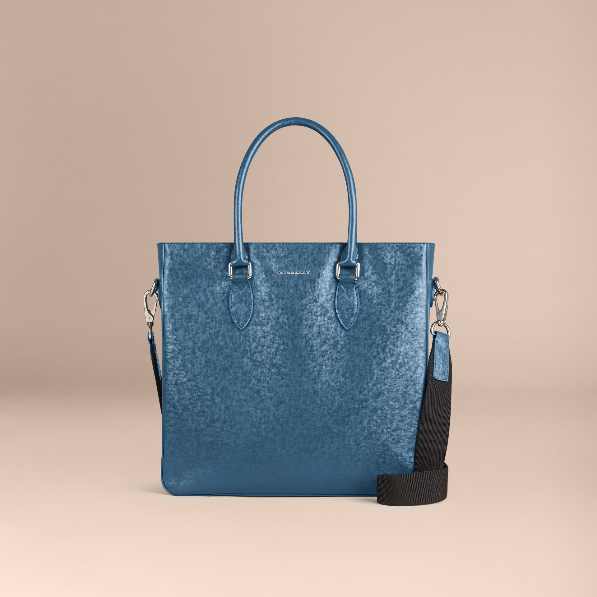 London Leather Tote Bag in Mineral Blue - Men | Burberry - gallery image 7