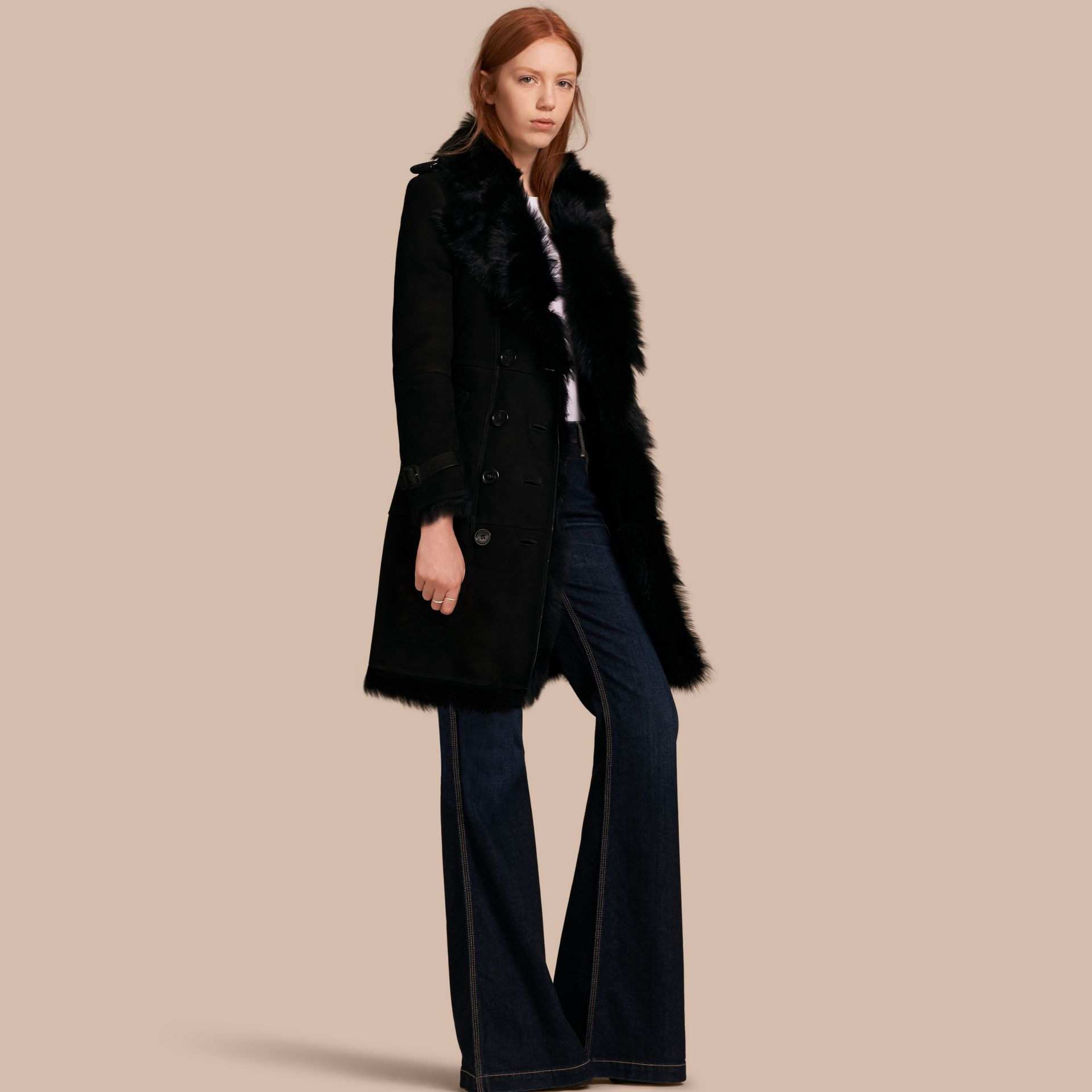 Shearling Trench Coat in Black - Women | Burberry - gallery image 0