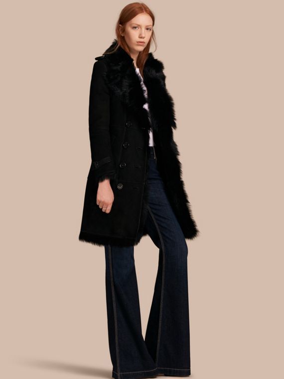 Shearling Trench Coat Black