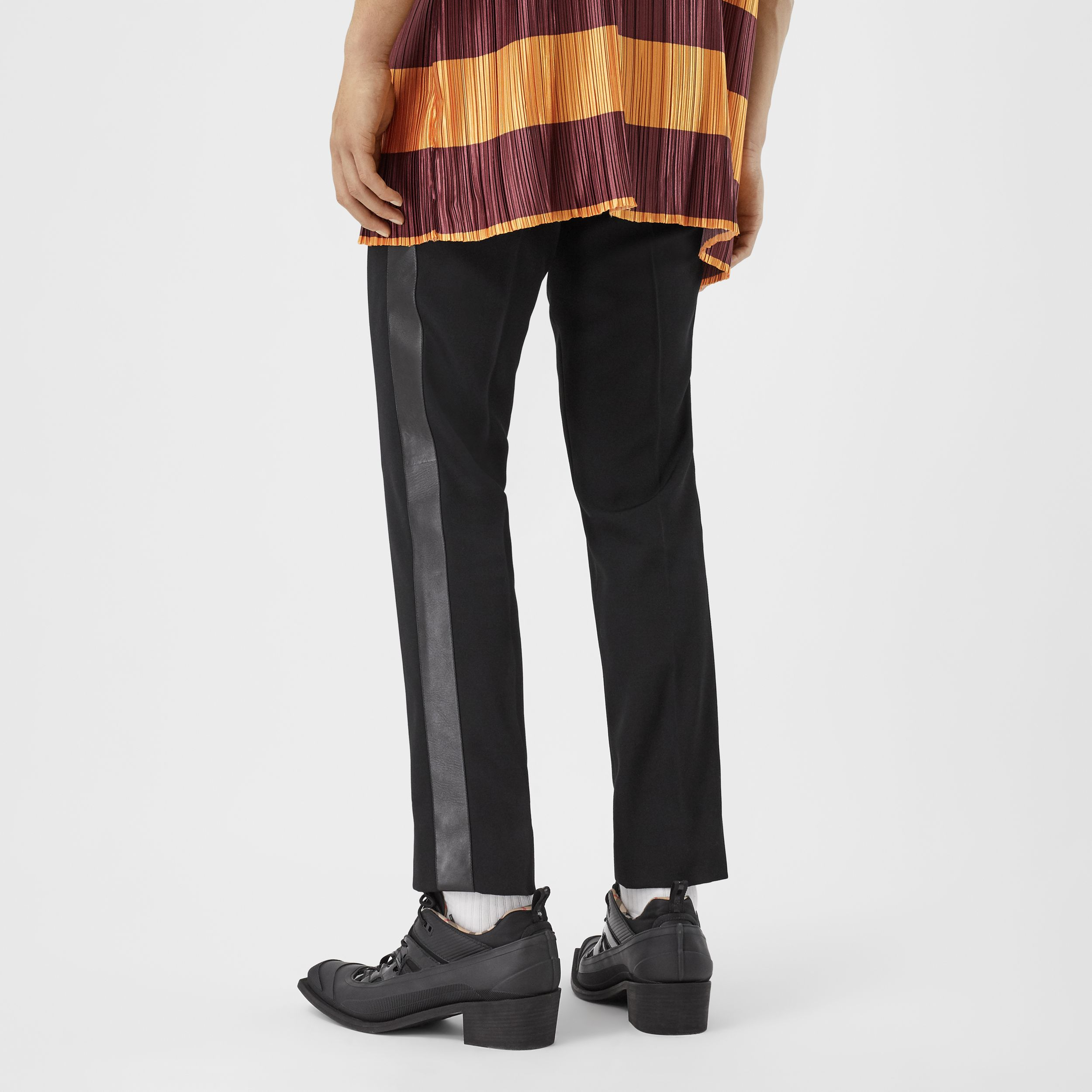 Lambskin Side Stripe Wool Tailored Trousers in Black | Burberry United States - 3