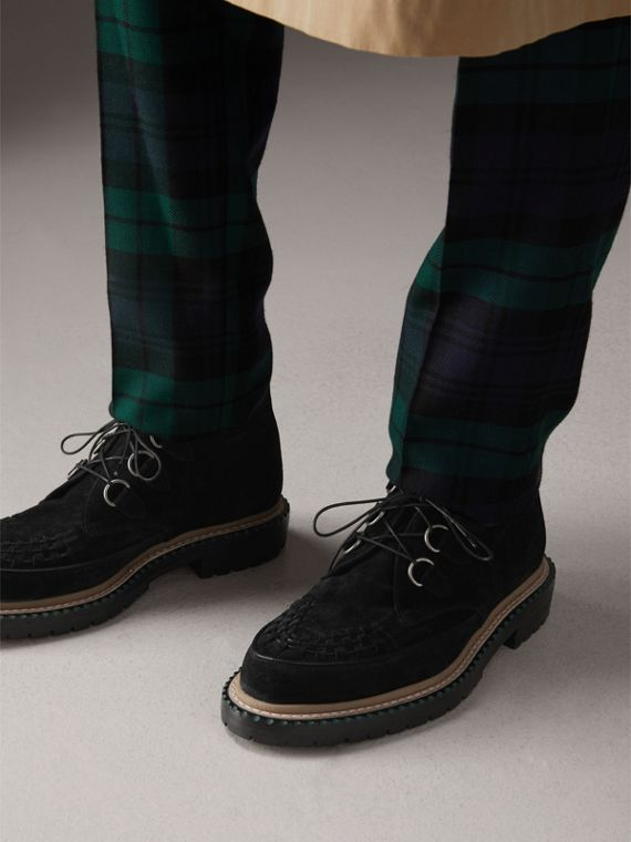 Woven-toe Suede Ankle Boots in Black - Men | Burberry Singapore - cell image 2