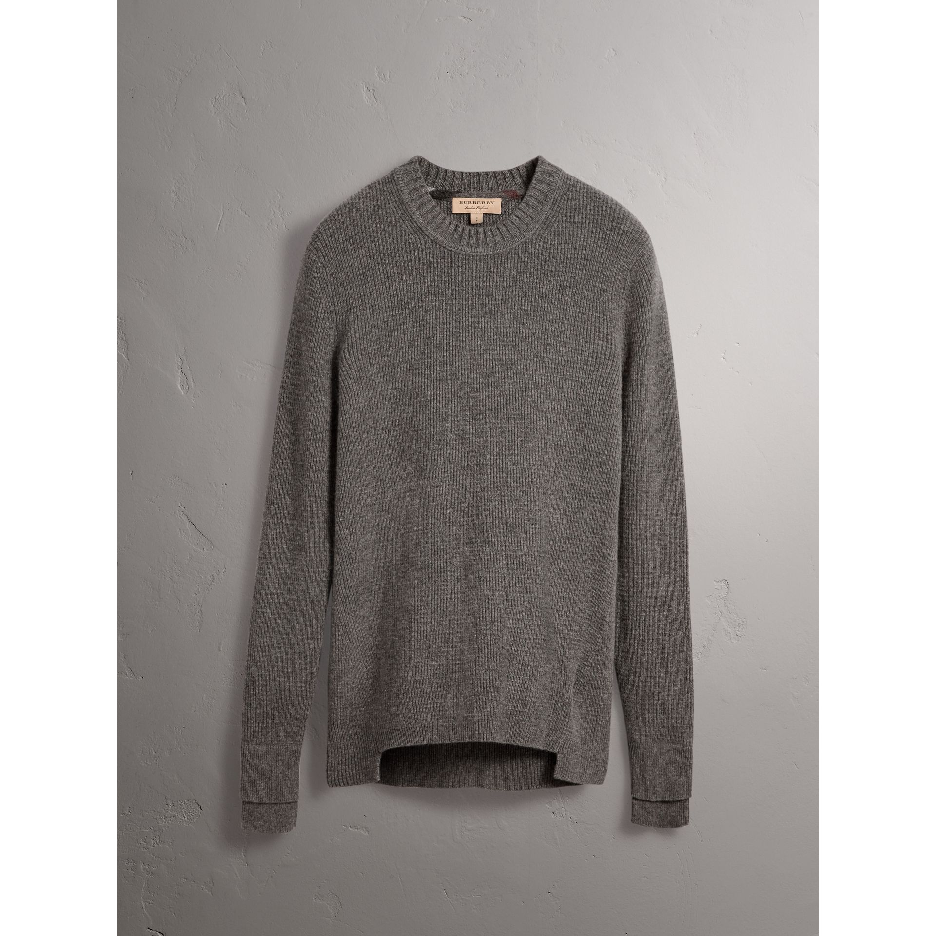 Waffle Knit Cashmere Sweater in Dark Grey Melange - Men | Burberry - gallery image 4