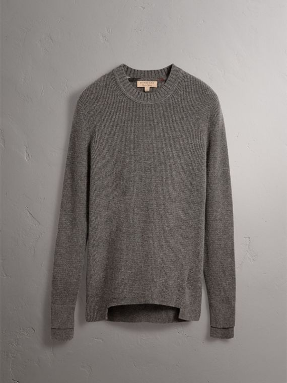 Waffle Knit Cashmere Sweater in Dark Grey Melange - Men | Burberry - cell image 3