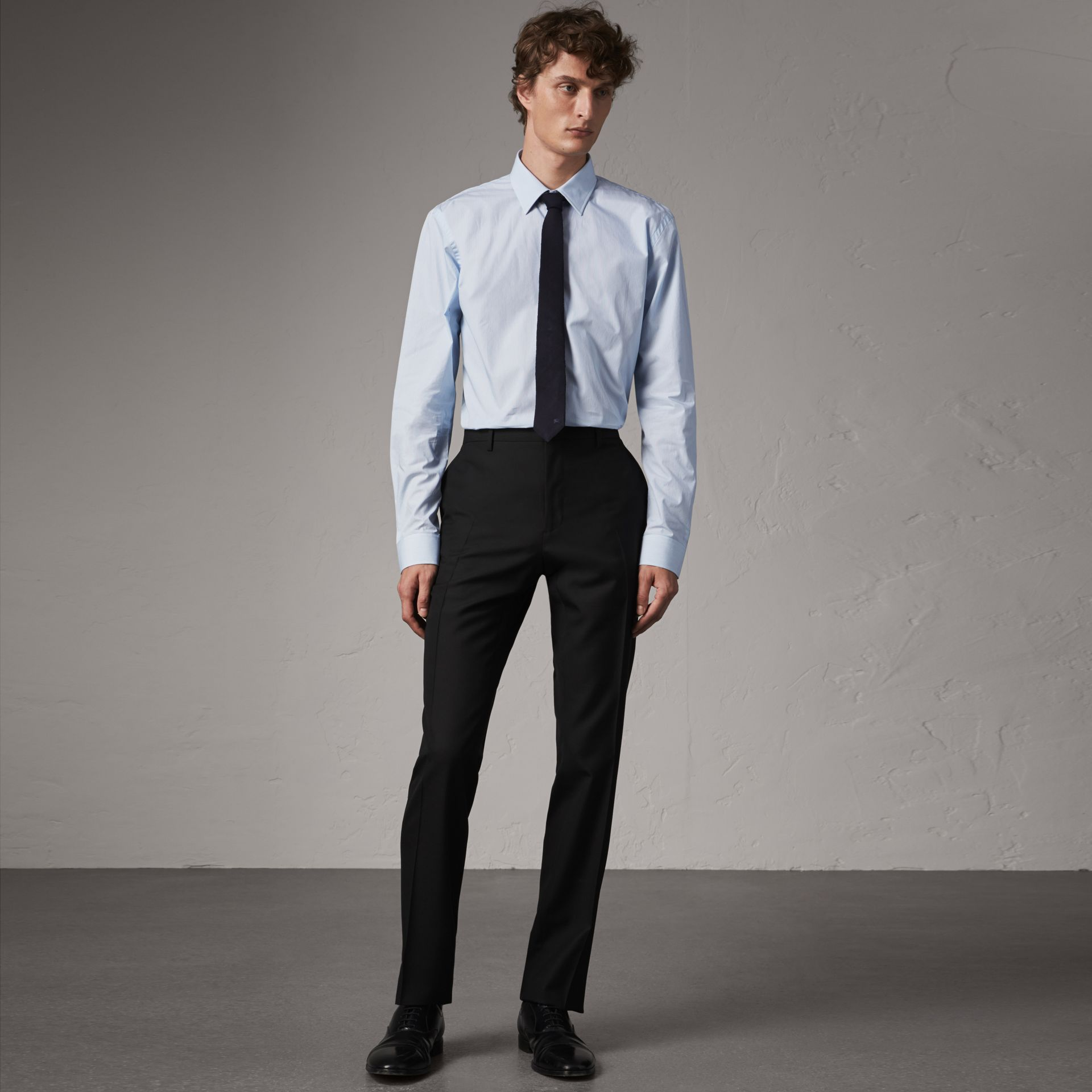 Modern Fit Wool Trousers in Black - Men | Burberry - gallery image 0