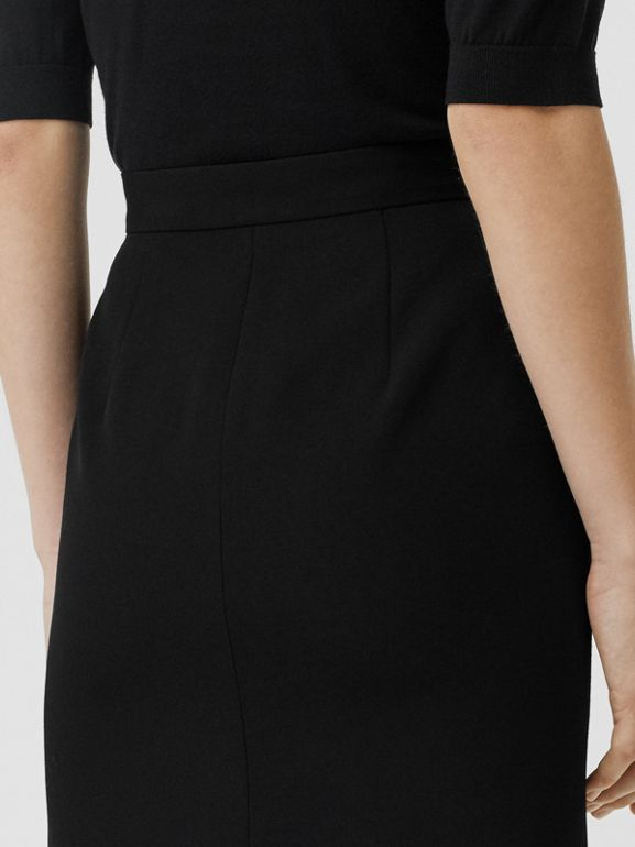 Wool High-waisted Pencil Skirt in Black - Women | Burberry United States - cell image 1