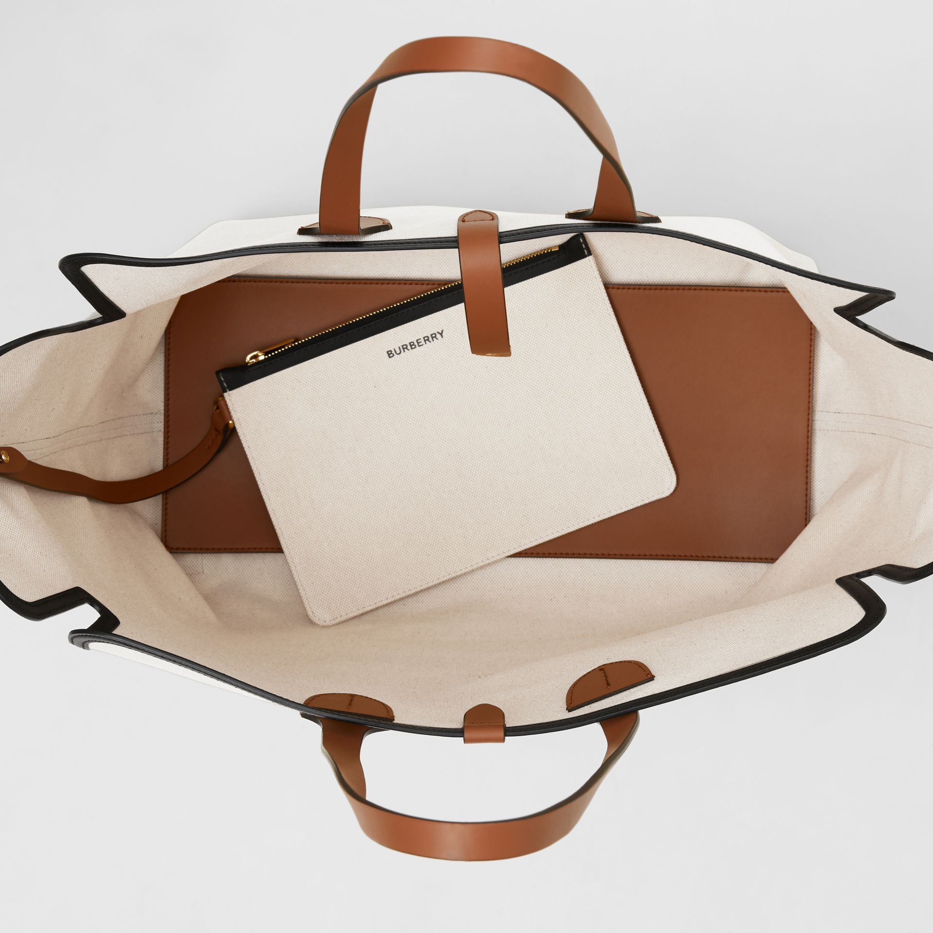 Grand sac The Belt en toile de coton douce (Brun Malt) | Burberry - photo de la galerie 4
