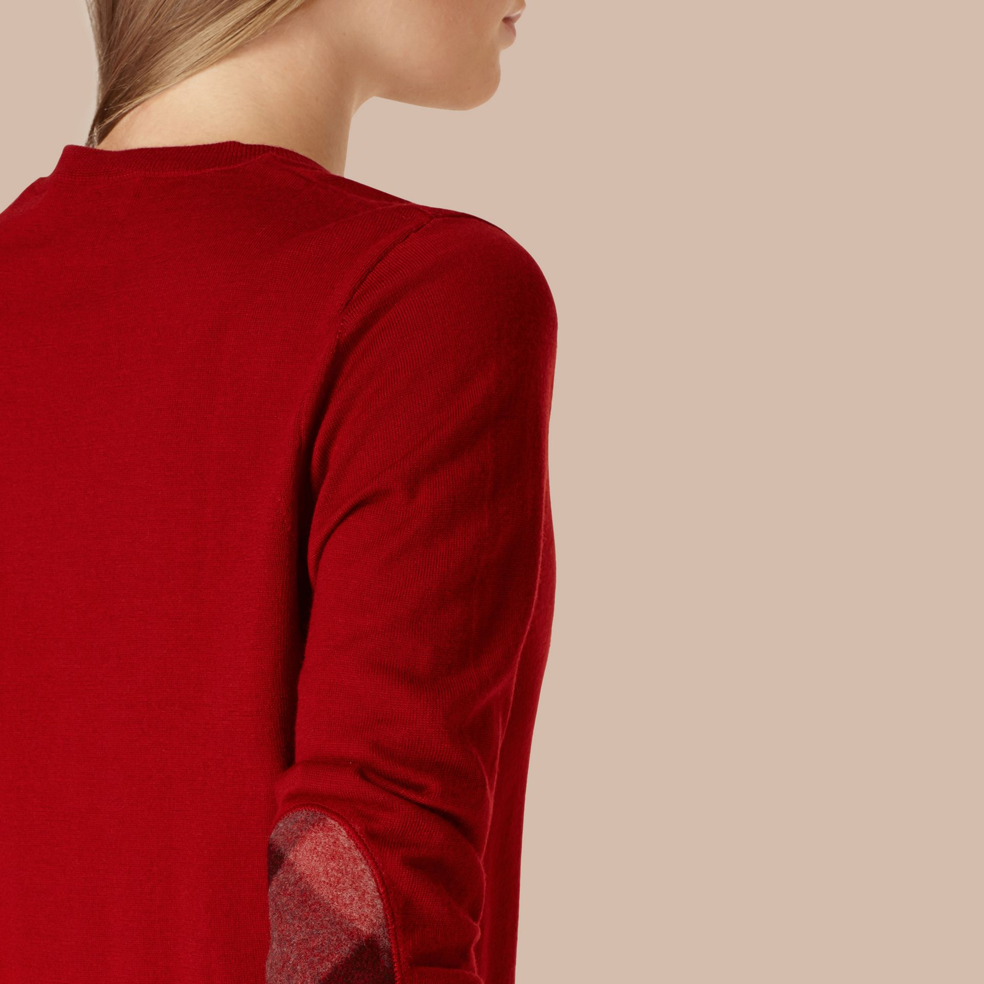 Check Detail Merino Wool Crew Neck Sweater in Parade Red - Women | Burberry Canada - gallery image 3