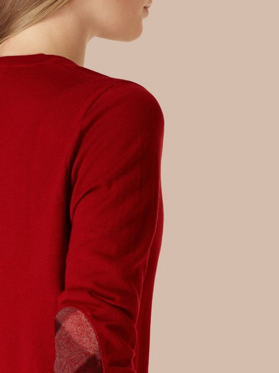 Check Detail Merino Wool Crew Neck Sweater in Parade Red - Women | Burberry - cell image 3