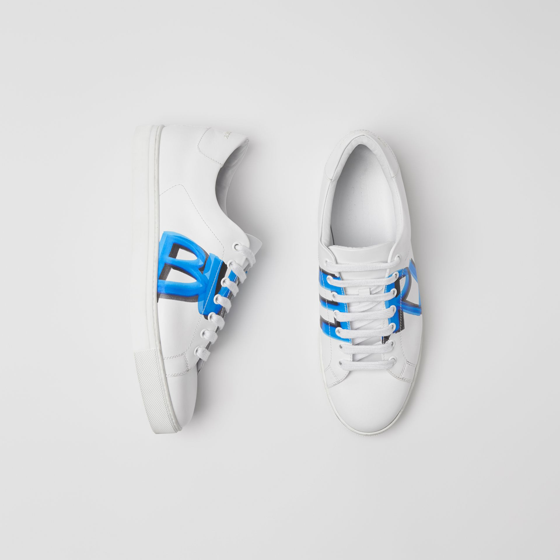 Logo Print Leather Sneakers in Optic White/bright Sky Blue - Men | Burberry - gallery image 6