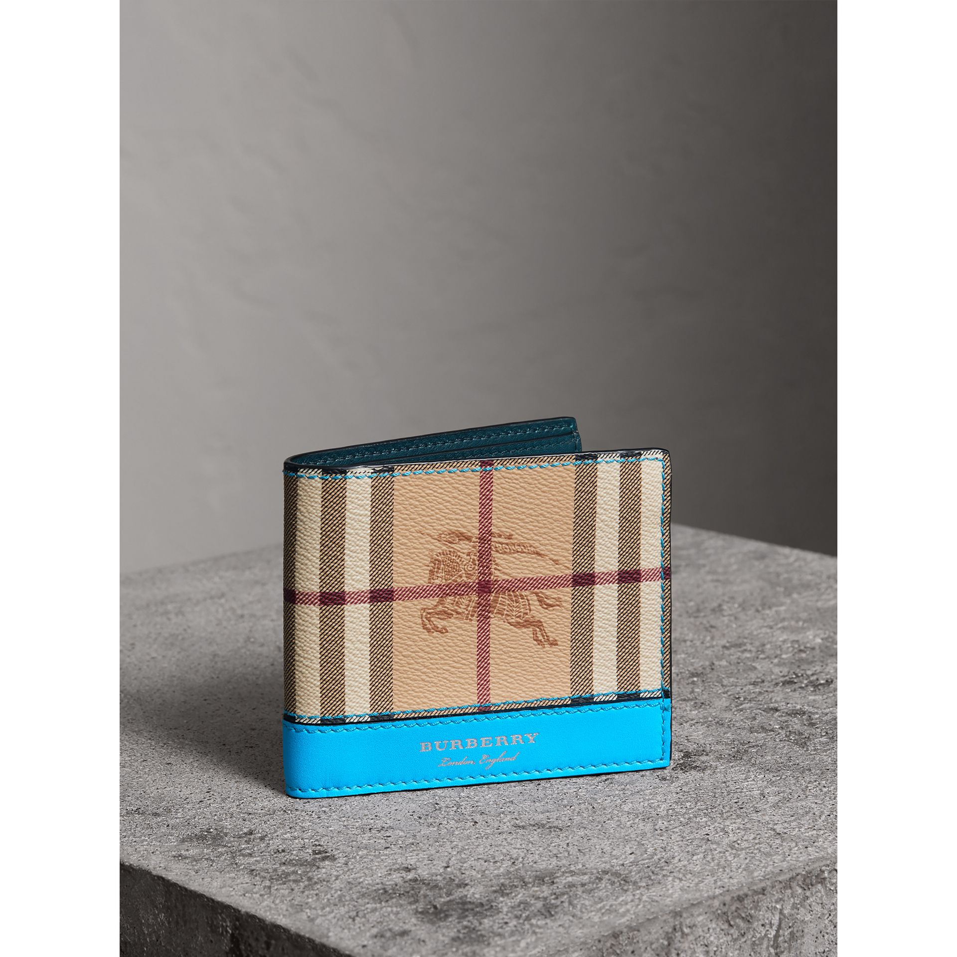 Haymarket Check International Bifold Wallet in Bright Blue - Men | Burberry - gallery image 0