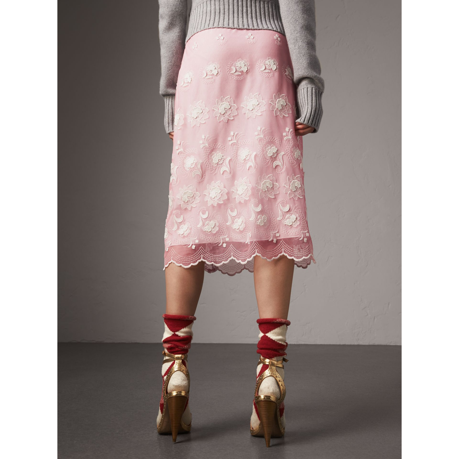 Chantilly Lace Trim Embroidered Tulle Skirt in Rose Pink/white - Women | Burberry - gallery image 3