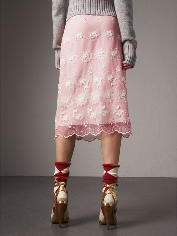 Chantilly Lace Trim Embroidered Tulle Skirt in Rose Pink/white - Women | Burberry - cell image 2