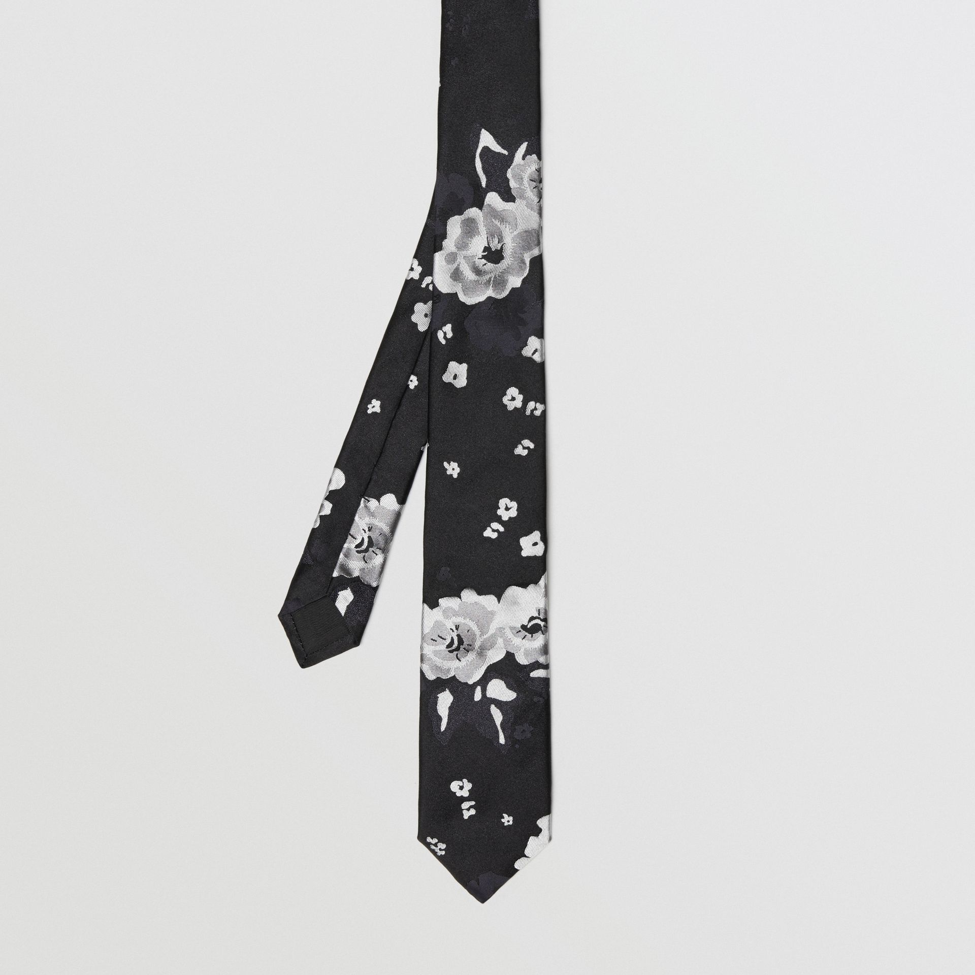 Slim Cut Floral Silk Tie in Black - Men | Burberry United Kingdom - gallery image 3