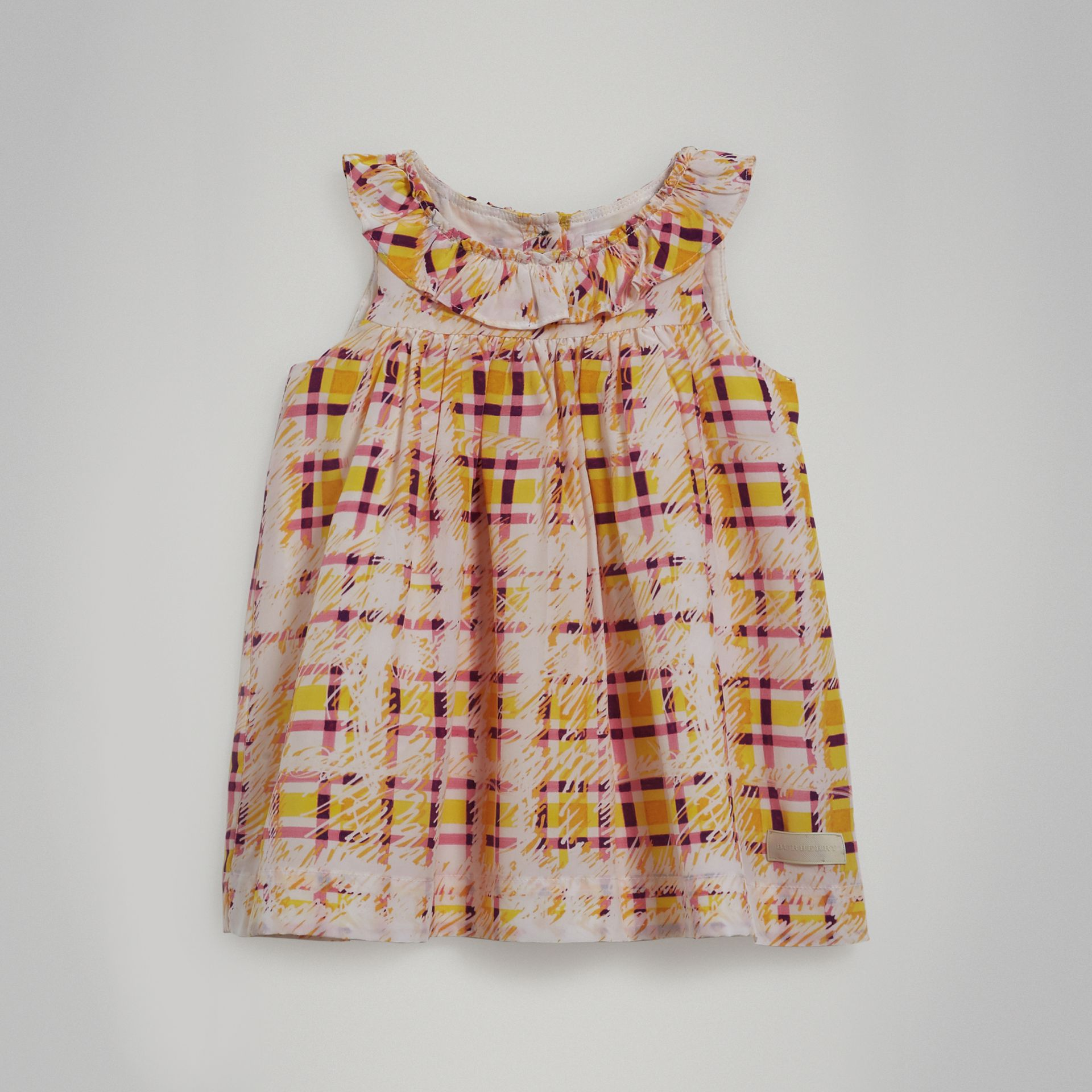 Gathered Scribble Check Print Silk Dress in Amber Yellow - Children | Burberry - gallery image 0
