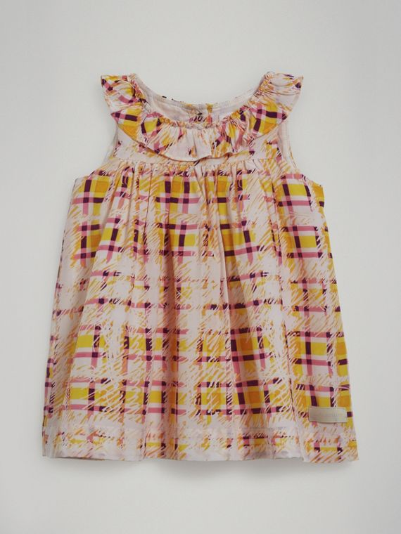 Gathered Scribble Check Print Silk Dress in Amber Yellow