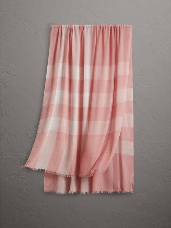 Check Modal Cashmere and Silk Scarf in Antique Rose